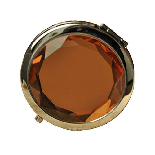 Élégant cristal Double Miroir cosmétique Portable Maquillage Miroir, café