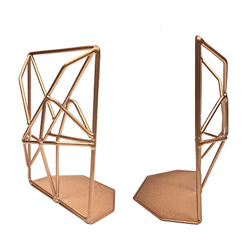 Homentum Geometric Book Ends Decorative Metal Bookends Heavy Duty Book Holders for Shelves Bookend Supports for Office Home Desktop Decor Bookends for Heavy Books Bookshelf Decor(Rose Gold)