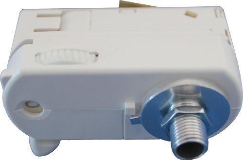GlobalTrac 3-Phasenstromschiene Ausspeiser Stromabnehmer mit Leuchtenhalter M10 weiß