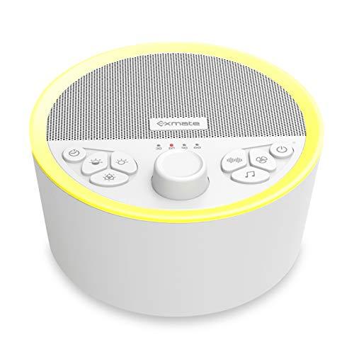 Exmate White Noise Machine mit Nachtlicht,Weißes Rausche Maschine mit 29 beruhigenden Geräuschen die Kindern und Erwachsenen beim Schlafen helfen,Eingebaut akku,Mit Kopfhörern verbinden