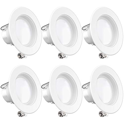 Sunco Lighting 6 Pack 4 Inch LED Recessed Downlight, Baffle Trim, Dimmable, 11W=60W, 4000K Cool White, 660 LM, Damp Rated, Simple Retrofit Installation - UL + Energy Star