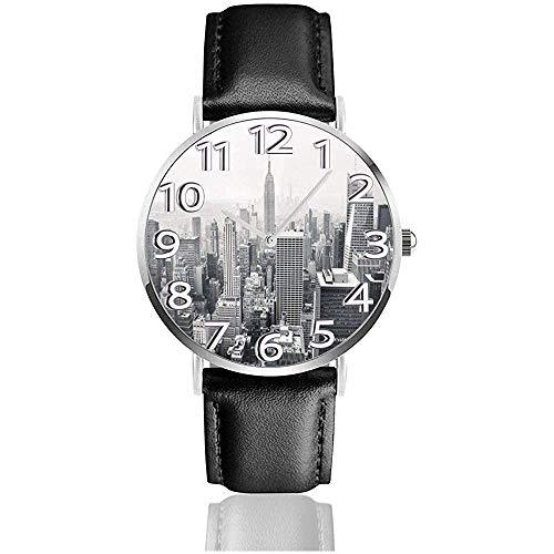 Reloj de Cuero del Paisaje de la Ciudad de Nueva York Relojes de Pulsera de Moda Unisex Reloj de Cuarzo