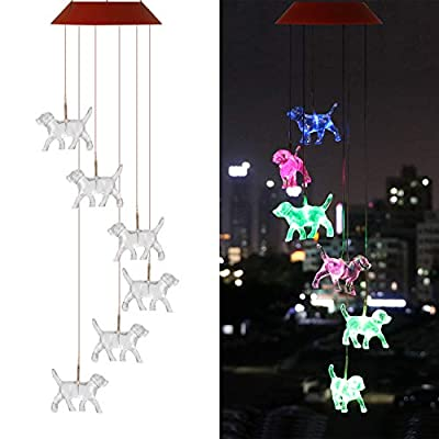 UXORSN Solar Dog Wind Chimes,Waterproof LED Color Changing Solar Wind Chime Light for Home Party Yard Garden Decor,Gifts for Mom Grandma Birthday Christmas Party Night Garden Hanging Decoration