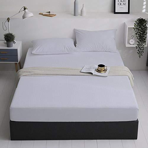 GTWOZNB Protector de colchón de bambú Funda de colchón y Ajustable Colcha Impermeable y Transpirable para Aislamiento de orina-Rayas Blancas_135 * 200cm