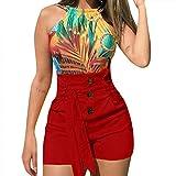 SHOBDW Pantalones Cortos Mujer 2020 Verano Playa Sexy Pantalones Deporte Mujer Botón Cordón Cintura Elástica Casual Pantalones Chandal Mujer Tallas Grandes Mujer Regalo(Rojo,XXL)