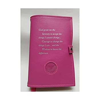 Double Narcotics Anonymous NA Basic Text & It Works How & Why Book Cover Serenity Prayer Medallion Holder Pink