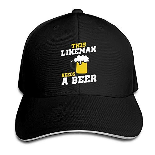 Nancyint Unisex Este liniero necesita una cerveza Gorras de béisbol Bocadillo ajustable Gorras de pico Sombrero de deporte al aire libre