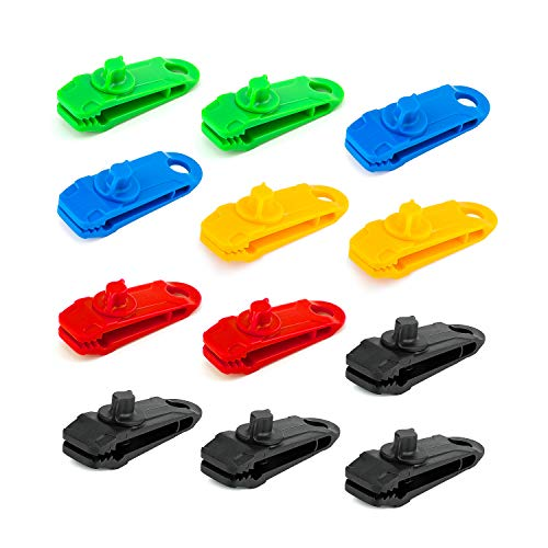 LUTER 12 Pcs Tarp Clip Crocodile Mouth Multipurpose Tarp Clips Lock Grip Awning Clamp for Tents, Tarp, Boat Cover, Pool Cover, Car Cover (Multi-colored)