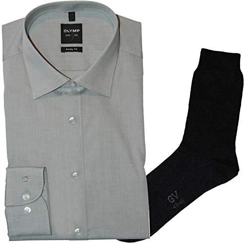 OLYMP Herrenhemd Level Five, Body fit, extra Langer Arm 69cm, New York Kent, Mittelgrau, Chambray + 1 Paar hochwertige Socken, B&le