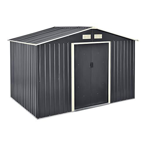 Casetta da Giardino 277x191x192 cm Box Organizzatore Deposito Stoccaggio in Lamiera Zincata con Pavimentazione in Metallo e Porte Scorrevoli - Grigio Scuro