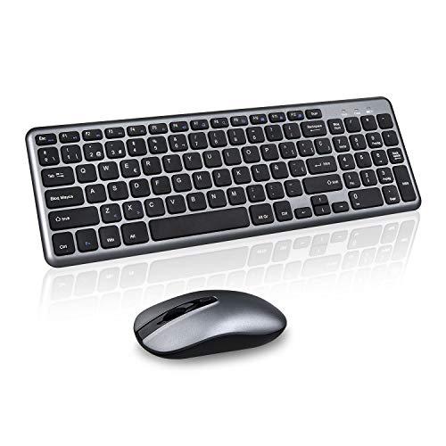Cimetech Combo inalámbrico de Teclado y Mouse,Wireless Keyboard and Mouse Teclado portátil Compacto de tamaño Completo con Mouse para computadora de Escritorio PC portátil con Windows (ES Layout)