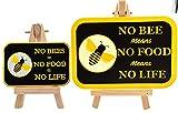 LilieCrea Patch Abeille + 2 Stickers Pare-Chocs No Bees No Food No Life, écusson thermocollant et Autocollants Voiture Protection des Abeilles