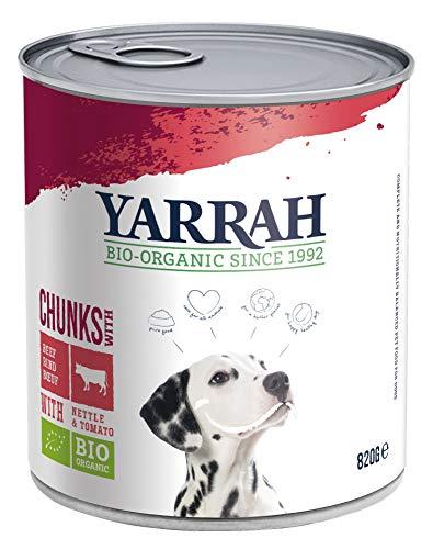 Yarrah Bröckchen Lot de 6 boîtes de nourriture bio pour chien au poulet, bœuf, ortie, tomate 820 g