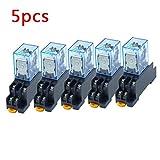 AKDSteel 10pcs 12V 24V DC 110V 220V AC Coil Power Relay LY2NJ DPDT 8 Pin HH62P JQX-13F con Socket Base Práctica Electrónica