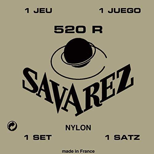 Savarez 520 R Saiten für Klassikgitarre Satz Traditional Concert 520R Standard Tension Nylon rot Bassaiten versilbert