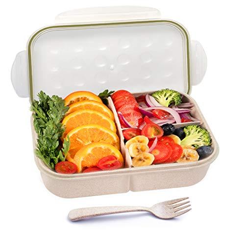 GothicBride Lunch Bento Box Blé Naturel 3 Anti-Fuite Compartiments Bento Box pour Enfant & Adulte (avec Fourchette)