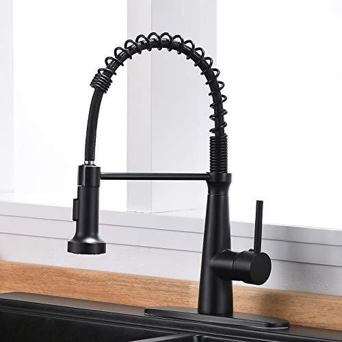 TIMACO Schwarz Wasserhahn Küche mit Brause 360° schwenkbar Mischbatterien für Küche Gastro Armatur Einhandmischer für Küchen Spüle Spültischarmatur Spiralfederarmatur Küchenarmatur