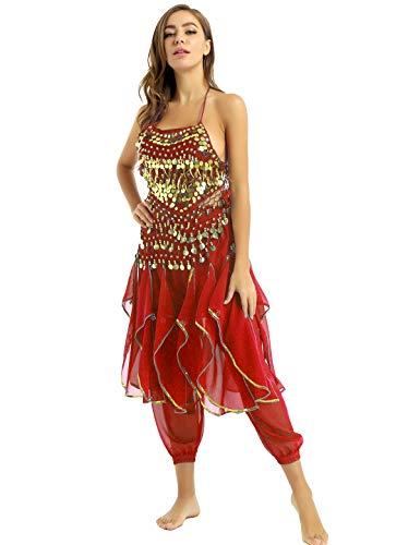 inhzoy Vestido Danza del Vientre Flecos para Mujer Traje Danza del Oriental India Lentejuelas Disfraz de Princesa Árabe para Fiesta Fancy Dress