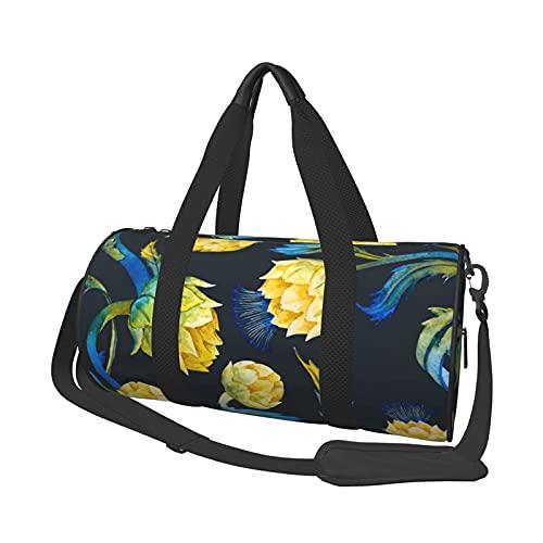 Bolsa de deporte de viaje, diseño de flores de alcachofa, redonda, ligera, duradera, para hombre y mujer