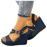 Sandalias de tacón de cuña para Mujer Casual de playa,Sandalias de Estilo romanas,Retro diseño,comodas Transpirable, Zapatos de elegantes moda, Zapatos Mujer Verano,Talla Grande37-42