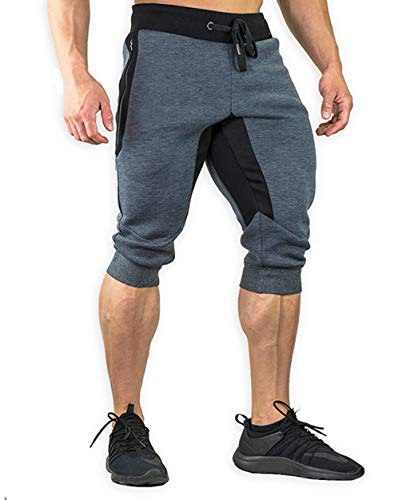 TBMPOY Men's 3/4 Cotton Casual Shorts Running Capri Breathable Below Knee Gym Jogger with Zipper Pockets(02gray,US 34)