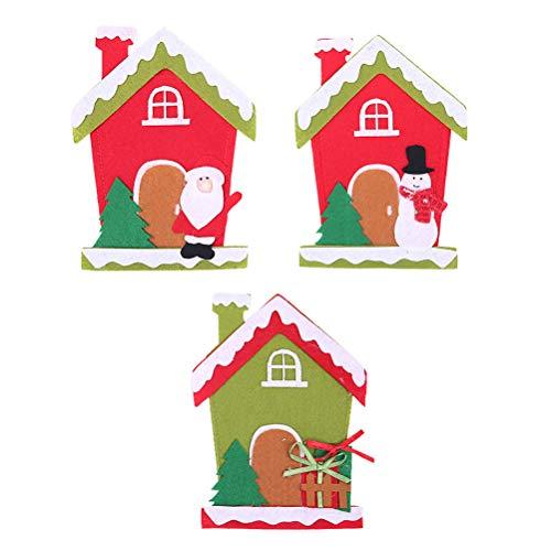 PRETYZOOM Kreatives Weihnachts-Cartoon-Hausmuster, Messer, Gabel, Taschen, Geschirr, Besteckhalter, Haushaltswaren, Hotelbedarf, Weihnachtsmann, Schneemann + Geschenk-Box, Partyzubehör
