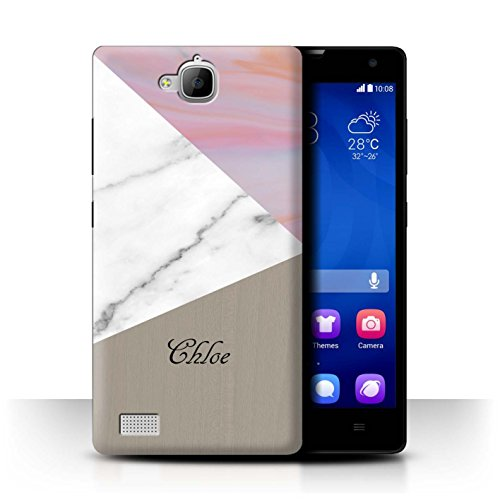 Stuff4® Personalisiert Individuell Holz/Marmor Hülle für Huawei Honor 3C / Rosa/Gold Design/Initiale/Name/Text Schutzhülle/Case/Etui
