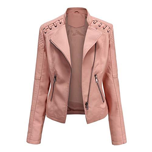 YYNUDA Chaqueta corta de piel sintética para mujer con cremallera, corte regular, chaqueta de entretiempo Rosa. M