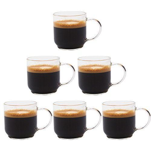 Zenco Living Espresso Cups (4 Ounce) with Large Handle, Set of 6 - Glass Coffee Cups for Nespresso Lungo, Double Espresso, Cortado