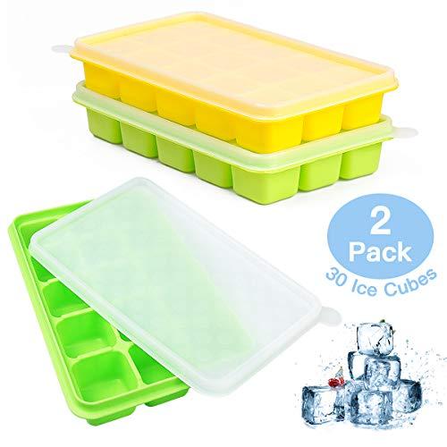 UTAKE Eiswürfel Eiswürfelform LFGB Zertifiziert BPA frei Silikon Eiswürfelschale mit Deckel 2-Stück 30-Fach
