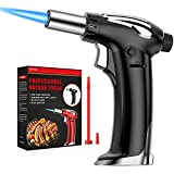 NANW Butane Torch, Refillable Kitchen Blow Torch Lighter Culinary Cooking Torch with Adjustable Flame for BBQ, Creme Brulee, Baking And Cooking (Butane Gas not Included) (Black)