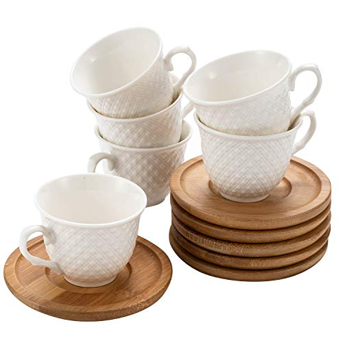 SOGREAT Juego de 6 tazas de café de porcelana con platillos de bambú, 12 piezas para café negro, té, café helado, café espresso blanco