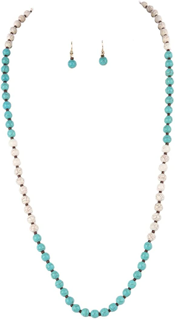 Fashion Jewelry ~ Multi Color Natural Stone Beads Long Necklace and Earrings Set for Women Teens Girlfriends Birthday Gifts