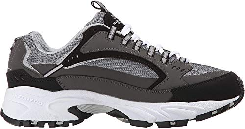 Skechers Sport Men's Stamina Nuovo Cutback Lace-Up Sneaker,Charcoal/Black,9.5 2E US