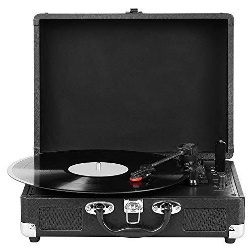 MEDION E64065 Schallplattenspieler, Retro Koffer Plattenspieler mit USB Digital Encoder, Drehgeschwindigkeiten von 33/45 / 78 U/Min, internem Lautsprecher, schwarz