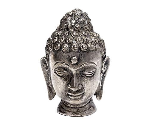 Brillibrum Design Thai Buddha Kopf Figur versilbert Metall Skulptur Silber Meditierend Dekofigur Feng Shui aus Metall Thai-Buddha schlafend