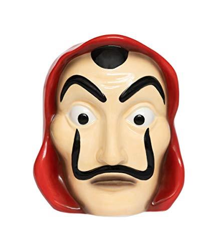 Grupo Erik HGE001 Hucha Máscara La Casa de Papel, Producto Oficial Netflix, Rojo y Negro, 11x10,8x12,6 cm