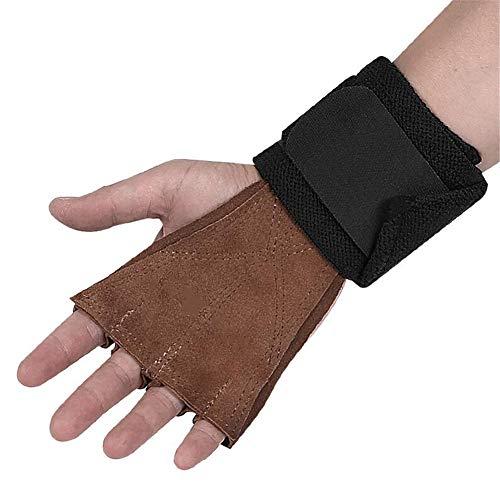 GYFHMY 1 Paar Cross-Trainingshandschuhe aus Leder mit Handgelenkbandagen - 4-Finger-Handflächenschutz-Handgriffe zum Gewichtheben - Ideal für Klimmzüge, Kreuzheben und Kettlebell