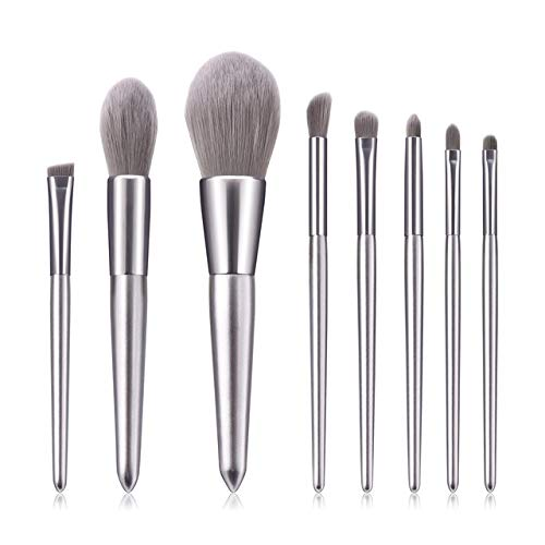 MLYJC Pinceaux Maquillage kit Pinceaux de maquillage Set Professional Beauty Purple Cosmetic Tools Kits Face Powder Eyeshadow Blending Brush, 8pcs, silver