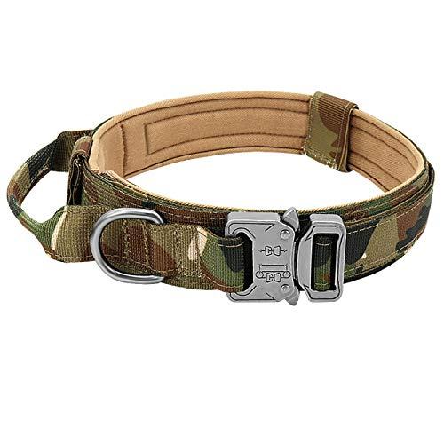 Yuan Ou Collar de Perro Collar de Perro táctico Militar alemán Shepard Collares de Perro medianos y Grandes para Caminar Entrenamiento Duarable Collar de Perro Mango de Control M Camuflaje