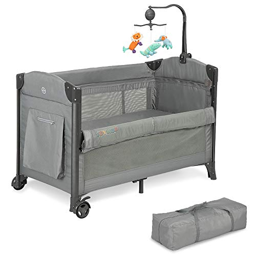 JOYMOR 3 in 1 Baby Bedside Sleeper, Bed Side with Mattress, Convert to Bassinet, Bedside Sleeper, Playpen, Quick Foldable Travel Bassinet Bed, with Toy, Wheels & Brake, Carry Bag for Boys Girls