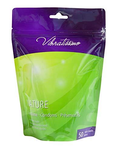 Paquete de 50 preservativos VIBRATISSIMO para una sensación auténtica, real y extra húmeda (Nature)