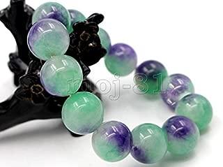 12MM Natural Purple & Green JADE Jadeite Round Gemstone Beads Bangle Bracelet