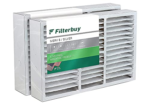 """FilterBuy 20x25x5 Air Filter (2-Pack, MERV 8), Pleated Replacement HVAC AC Furnace Filters for Honeywell, Carrier, Bryant, Day & Night, Lennox, and Payne (Actual Size: 19.88"""" x 24.75"""" x 4.38"""")"""