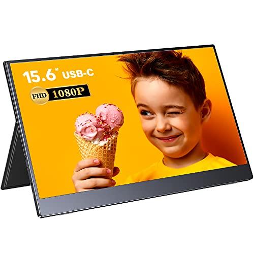 Monitor Portatile, EVICIV 15,6 Pollici Raspberry Pi Display, 1080 Full HD IPS Screen, Gaming Monitor con Type-C, Mini HDMI e Built-in Speakers per Laptop, PC, Mac, Xbox, PS4, Smartphone.