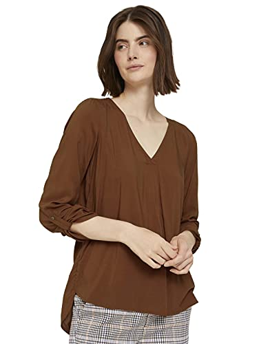 TOM TAILOR Denim Damen Basic Bluse, 26680 - Amber Brown, XL