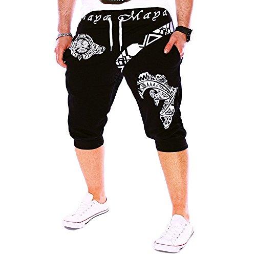 Pantalones Cortos Hombre Verano 2020 Nuevo SHOBDW Casual Impresión de Letras Pantalones Hombre Chandal Cordón Elástico Pantalones Cortos Hombre Deporte con Bolsillos Tallas Grandes (XL, R-Negro)