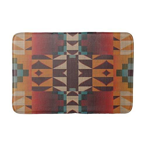 tian huan88 16x24 Inch Badmat, Heup Rood Oranje Donkerbruin Blauwe Blauwe Kunst Mozaïek Badkamer Mat, Machine-Wasbare Vloermatten voor Badkamer