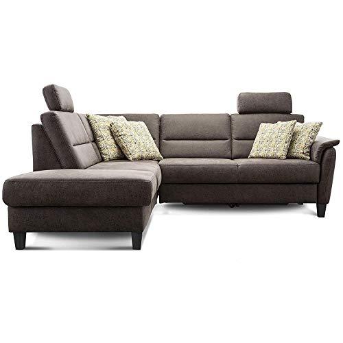 Cavadore Schlafsofa Palera mit Federkern / L-Form Sofa mit Schlaffunktion / 236 x 89 x 212 / Büffellederoptik Braun