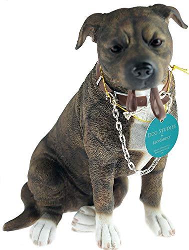 L&P Walkies 19 cm Staff - Brown Staffordshire Bull Terrier Dog Ornament Figurine